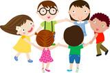Fototapety group of children having fun
