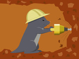 Mole builder is digging a tunnel with a jackhammer poster