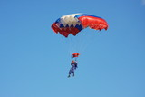 a parachute is in dark blue sky poster