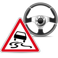 Vorsichtig fahren - Rutschgefahr!