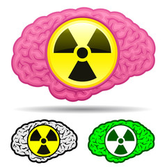 Brain with radioactive icon set