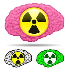 Brain with radioactive icon set