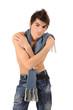 boy undressed up to a belt