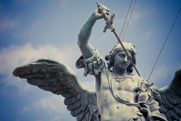 Saint Michael statue on the top of Castel Sant`Angelo