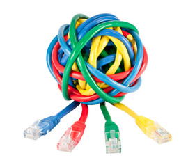 Ball of Colored Network Cables and Plugs Isolated on White