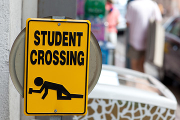 "Warning sign ""Drunken students crossing"""