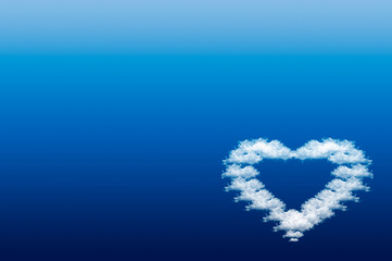 Heart on the blue background