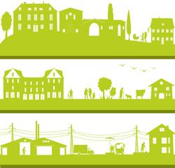bannière urbaine d'une ville ou banlieue verte