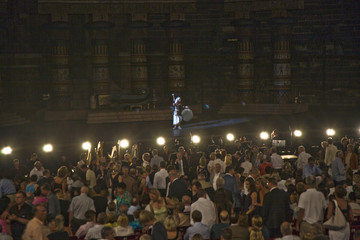 VERONA, ITALY - performance of aida in the arena