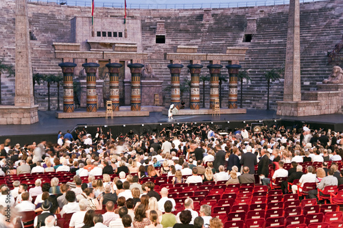 VERONA, ITALY - people are watching the opening of the opera