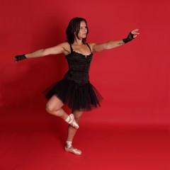 Rebel ballet dancer in black on red BG