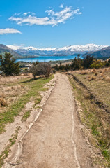 Path leading to Lake Wanaka in New Zealand.