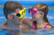 Father And Daughter with swimming masks