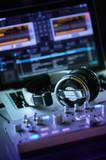 DJ computer workstation for live performance poster