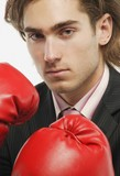 A Businessman With Boxing Gloves
