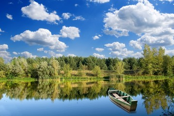 fisher boat on a river