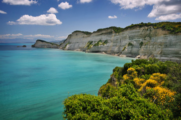 coast near cape drastis on corfu island, greece