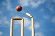 Cricket stumps and bails hit by a ball - 23971167