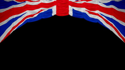 Great Britain Flag curtain up and down + Alpha