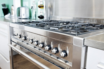 Cooker in Modern Colourful Kitchen