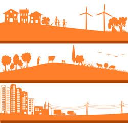 ville ecologique, campagne et citée aux energies traditionnelles