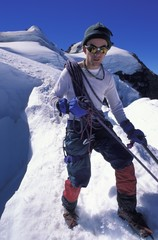 Mountaineer On A Snowy Slope