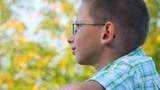 bespectacled boy looks at tree in park