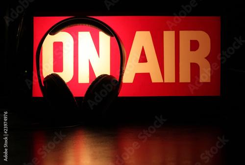 Leinwanddruck Bild Headphones Podcast On-Air
