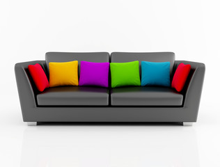 isolted black couch with colored pillow