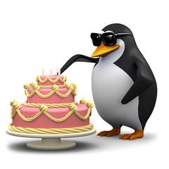 3d Penguin cuts a slice of cake