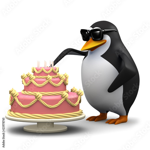 3d Penguin cuts a slice of cake