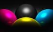 3D - CMYK Kugeln - Licht und Schatten