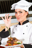 happy chef with delicious food