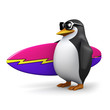 3d Penguin surfer heads for the beach
