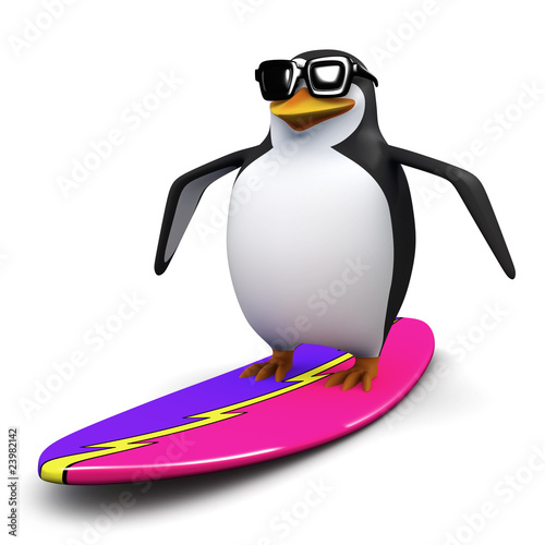 3d Surfer penguin