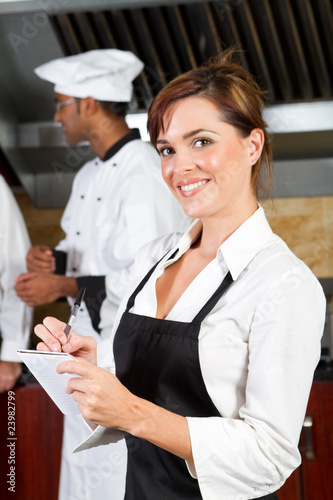 waitress taking order
