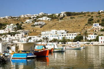 Mykonos Greece with Boats in Bay