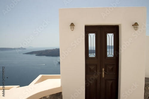 Doorway to the Ocean in Santorini Greece