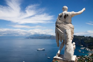 Bay of Capri Italy with Ceasar Statue