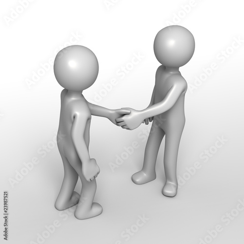 Friendly greeting handshake