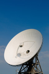 satellite communication disc against blue sky