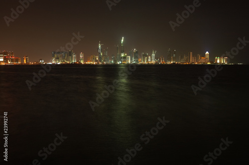 Qatar night skyline