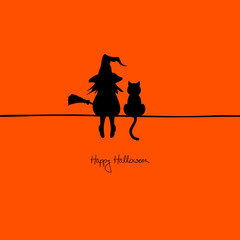 Halloween Card Witch & Cat