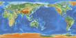 Weltkarte mit Relief - zentriert auf 150° Ost