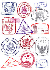 Vector illustration set of mock up immigration passport stamps.
