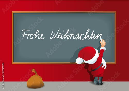 Weihnachtsmann schreibt an die Tafel