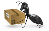 ant carry urgent post package mailman postman delivery poster