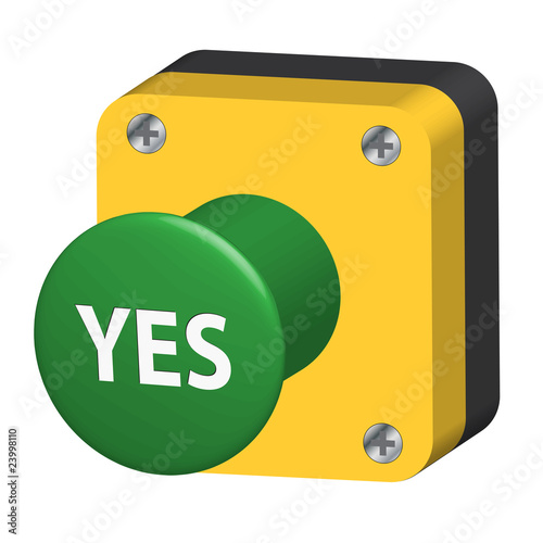 YES Pushbutton (web button ok go vote survey opinion poll ...