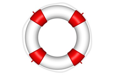 White life buoy with rope isolated