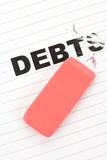 eraser and word debt poster